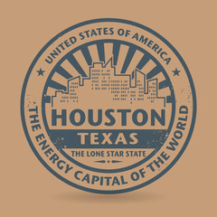 Grunge rubber stamp with name of Houston, Texas