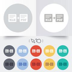 Export XLS to PDF icon. File document symbol.