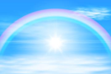 Sun in a the sky with rainbow