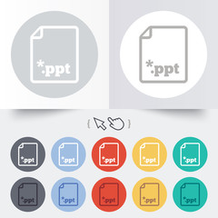 File presentation icon. Download PPT button.