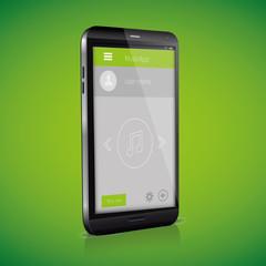 Flat Mobile UI Design on smartphone. Vector eps 10.