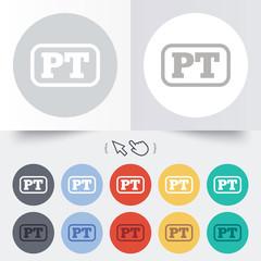 Portuguese language sign icon. PT translation