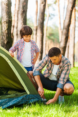 Learning the basics of camping.