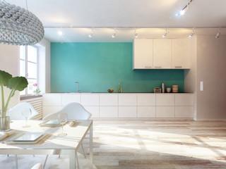 Wohnküche im Penthouse