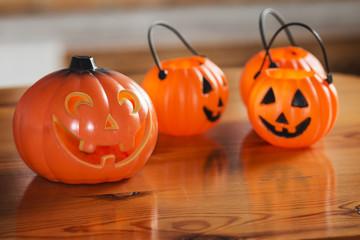 Halloween pumpkins on wooden