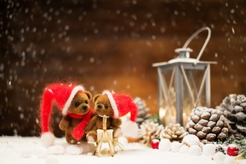 Small toy bears in christmas still life