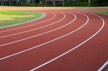 The running track closeup at a playground
