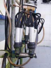 close up of milking machine in farm