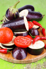 Chopped aubergines with tomatoes and chilly pepper