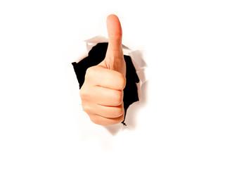 thumb up paper