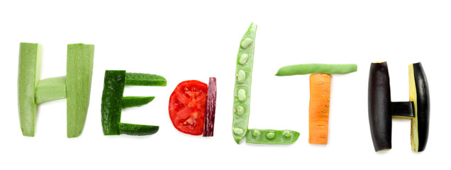 Healthy eating. Word Health made of vegetables, isolated