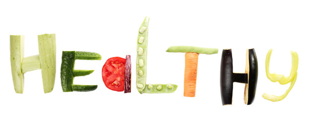 Healthy eating. Word Healthy made of vegetables, isolated