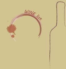 Wine List Menu. Bottle and wine print glass