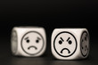 emoticon dice with angry and sad expression sketch