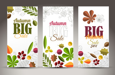 Fresh minimalist fall vertical banners with leafs
