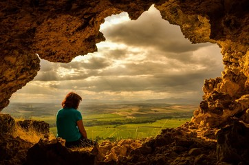 Cave and woman