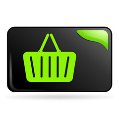 panier sur bouton web rectangle vert