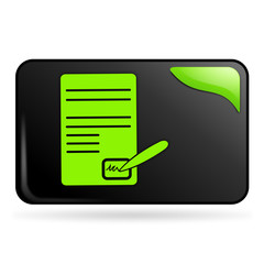 signature de contrat sur bouton web rectangle vert