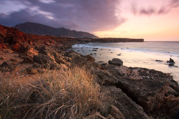 Winter sunrise on the southern coast of Crete, Greece.