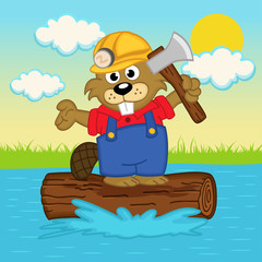 beaver on log - vector  illustration, eps