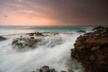 Rough sea and an evening storm on the coast of Crete, Greece.