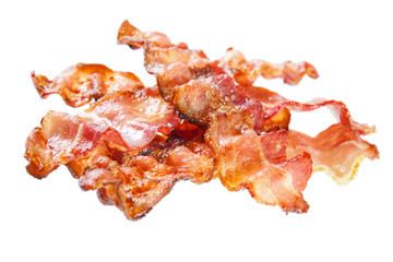 Fried bacon rashers , isolated on white