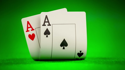 Poker card on the table on the green baize