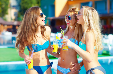 beautiful girls having fun on summer vacation