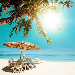 Tropical beach in sunny day. Square composition.