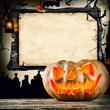 Halloween concept with blank board for text