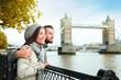Happy couple by Tower Bridge, River Thames, London
