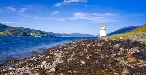 Lighthouse on Norwegian summer coast