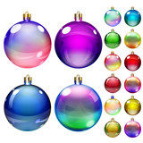 Set of opaque colored Christmas balls poster