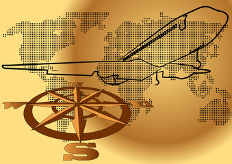 wind rose and plane