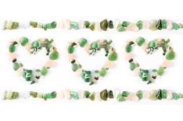 Edelsteine grün Herzen Fluorit Heilsteine