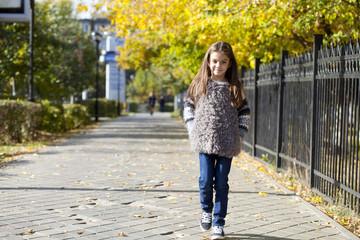 Little girl walking on autumn street
