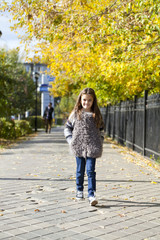 Little girl walking on autumn street