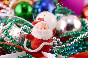 Santa Claus with Christmas toys, new year decoration
