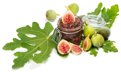 figs on fig leaf and jam