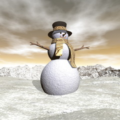 Snowman by snowing evening - 3D render