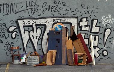 Old furnitures in the street, Geneva, Switzerland