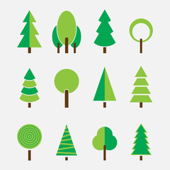 Set of different trees, modern simple design