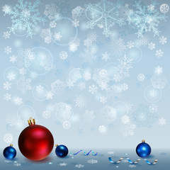 Christmas background with snowflakes and Christmas balls