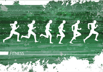 Jogging silhouettes grunge background
