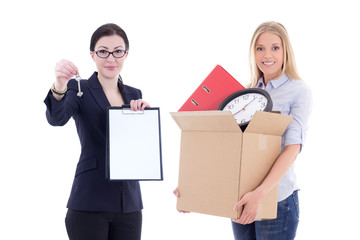 moving concept - attractive business woman showing clipboard and