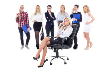 business team concept - business woman and her workers isolated