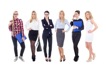 successful team - young attractive business women isolated on wh