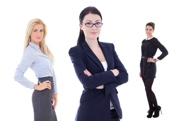 portrait of young attractive business women isolated on white