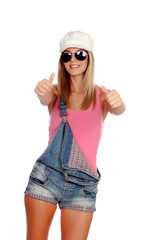 Attractive fashion woman with sunglasses saying Ok