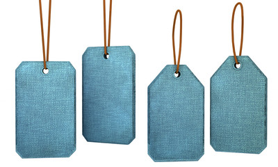 Label Stoff blau